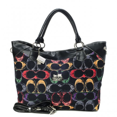 Coach Logo In Monogram Medium Black Totes BYK