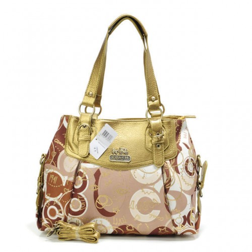 Coach Poppy In Monogram Large Yellow Totes BYL