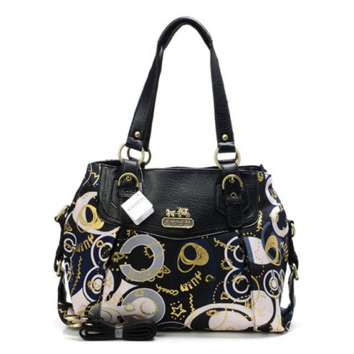 Coach Poppy In Monogram Large Black Totes BYM