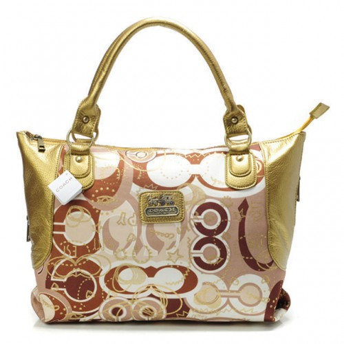 Coach Poppy In Monogram Large Yellow Totes BYN