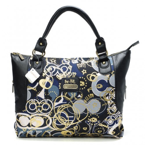Coach Poppy In Monogram Large Black Totes BYO