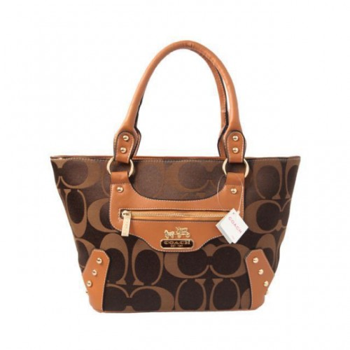 Coach Stud In Monogram Small Coffee Totes BYP