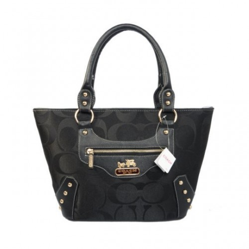 Coach Stud In Monogram Small Black Totes BYR