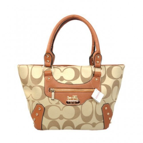 Coach Stud In Monogram Small Khaki Totes BYS