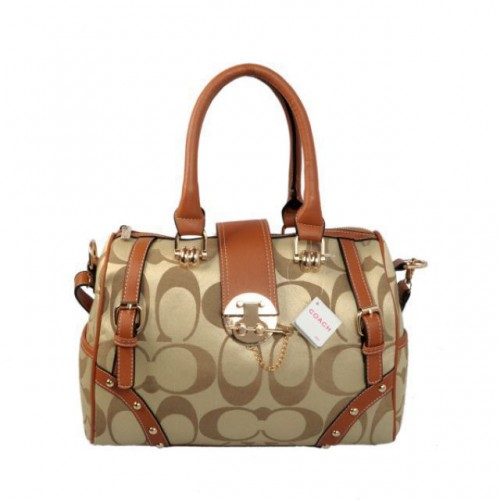 Coach Lock In Monogram Medium Khaki Luggage Bags BYZ