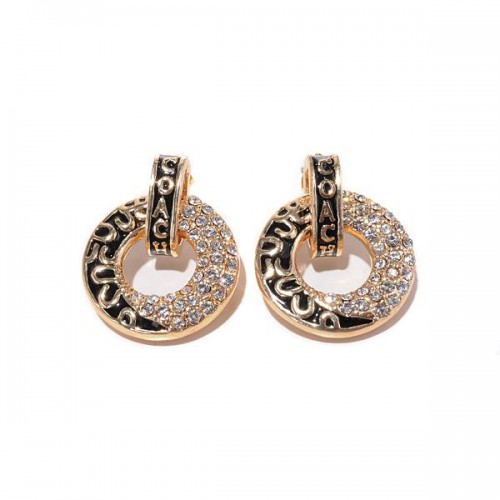 Coach Logo Circle Gold Earrings BZG
