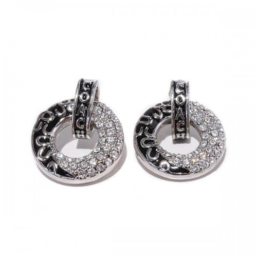 Coach Logo Circle Silver Earrings BZH