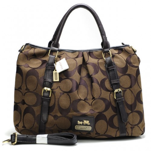 Coach Buckle In Monogram Large Coffee Satchels CBM