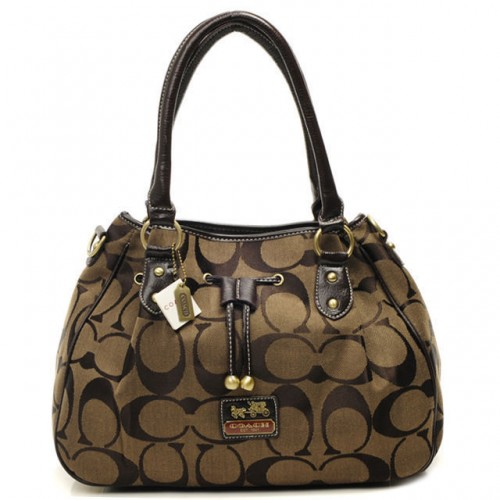Coach Marina In Signature Large Coffee Satchels CBV