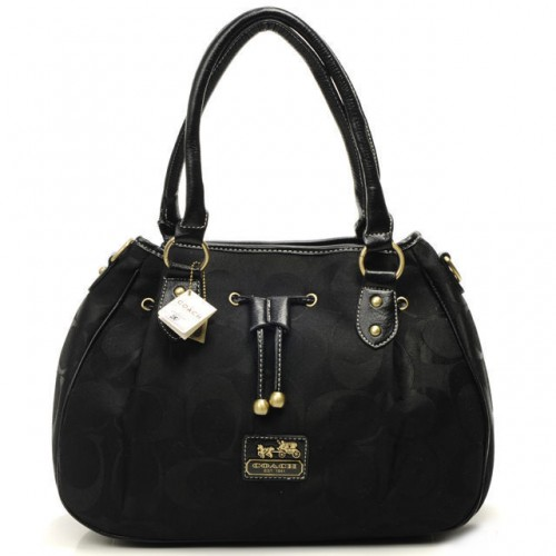 Coach Marina In Signature Large Black Satchels CBW