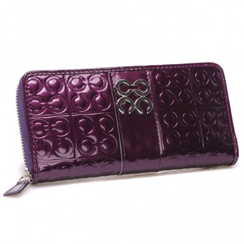 Coach Logo Monogram Large Purple Wallets CHN