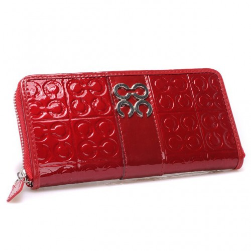 Coach Logo Monogram Large Red Wallets CHO