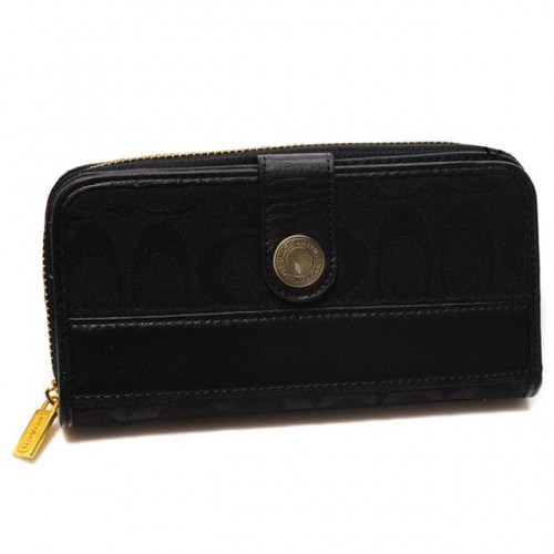 Coach In Signature Large Black Wallets CJK