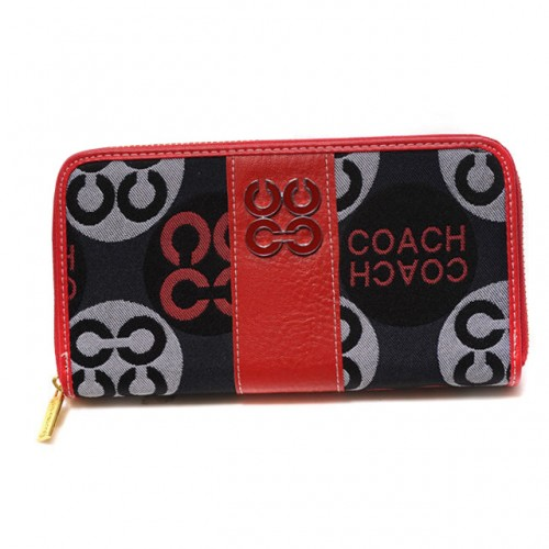 Coach Logo Signature Large Red Wallets CKA