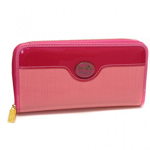 Coach Poppy Logo Large Pink Wallets CKC