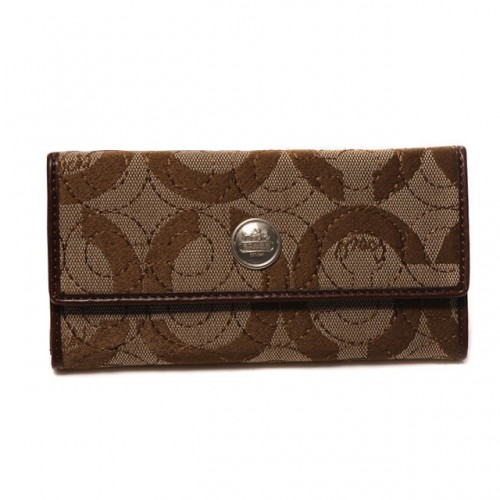 Coach Logo Signature Large Brown Wallets CKE