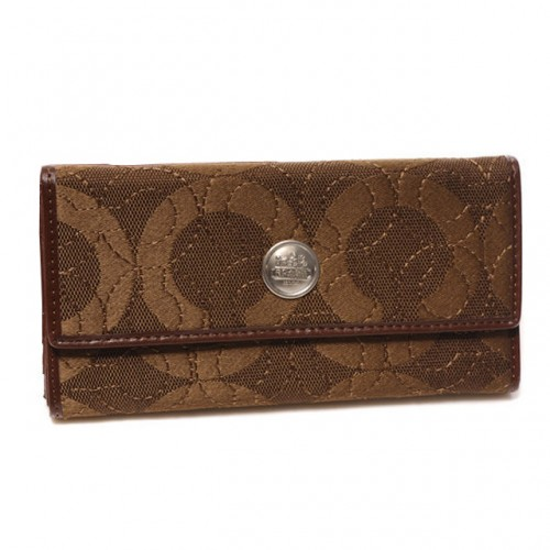 Coach Logo Signature Large Brown Wallets CKF