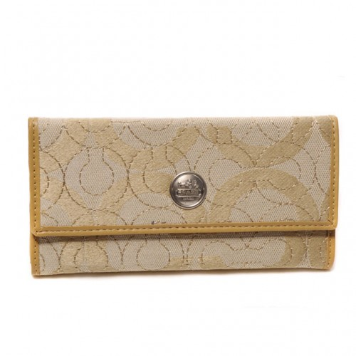 Coach Logo Signature Large Yellow Wallets CKG