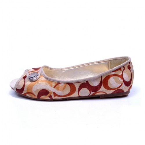Coach Buckle Signature Orange Flats CNG