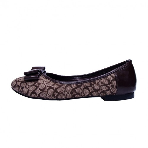 Coach Bowknot Signature Brown Flats CNM