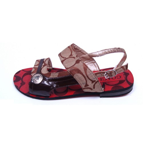 Coach Logo Monogram Brown Sandals CPB