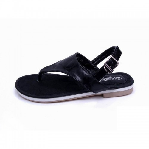 Coach Logo Signature Black Sandals CPC