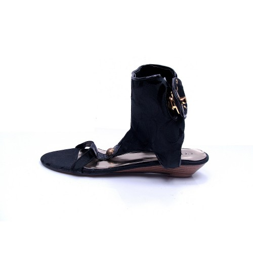Coach Ankle Strap Logo Black Sandals CPF