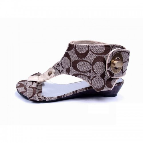 Coach Ankle Strap Lock Khaki Sandals CPH