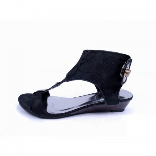 Coach Ankle Strap Lock Black Sandals CPJ