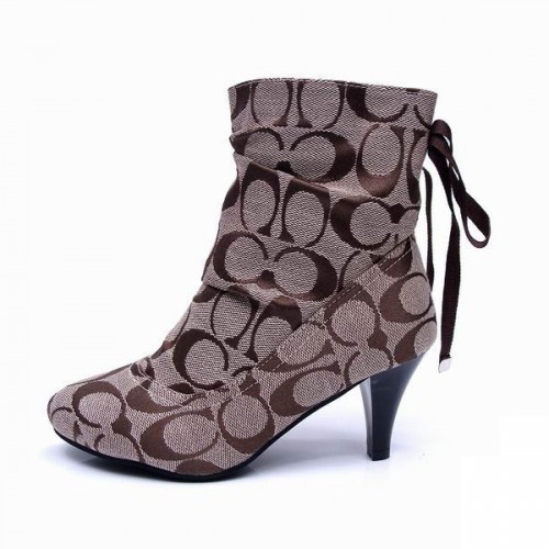 Coach Lace Signature Khaki Booties CPW
