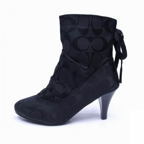 Coach Lace Signature Black Booties CPY