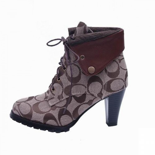 Coach Luca Lace Up Khaki Booties CQA