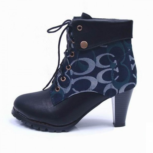Coach Lace Up Navy Booties CQI