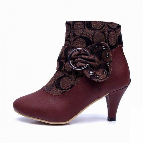 Coach Bowknot Signature Coffee Booties CQO
