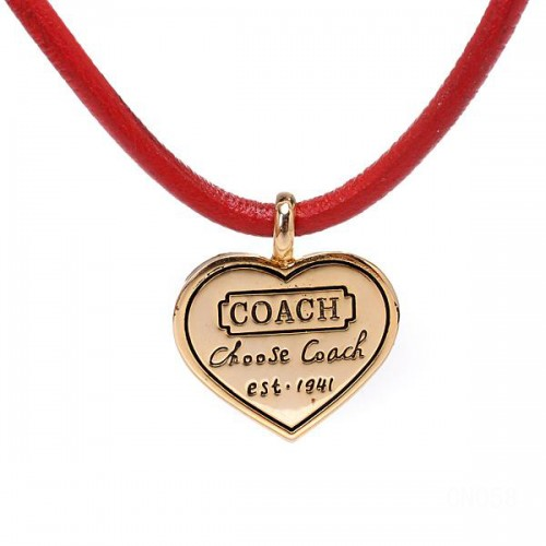 Coach Heart Logo Red Necklaces CXO
