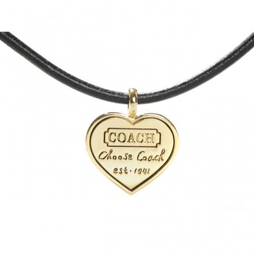 Coach Heart Logo Black Necklaces CXQ