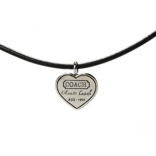 Coach Heart Logo Black Necklaces CXR