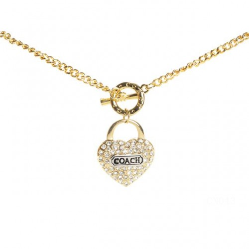 Coach Shine Heart Gold Necklaces CXU