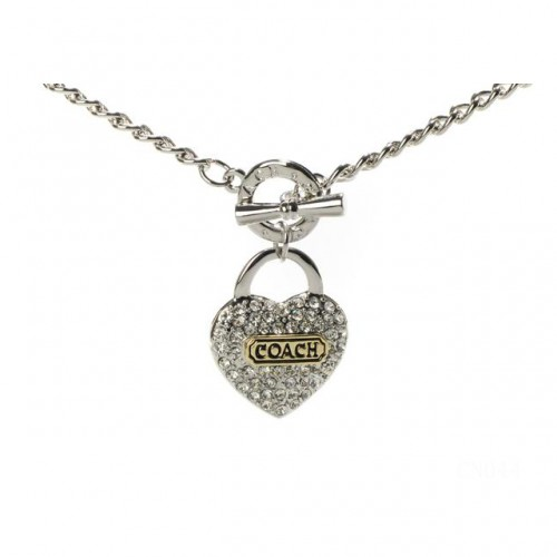 Coach Shine Heart Silver Necklaces CXV
