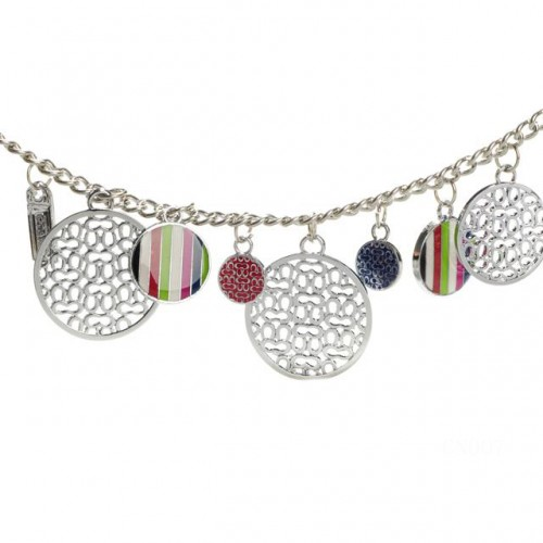 Coach Circle Charm Silver Necklaces CYP