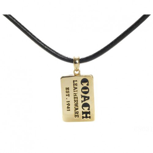 Coach Charm Hang Tag Black Necklaces CZJ