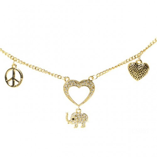 Coach Elephant Charm Gold Necklaces CZT