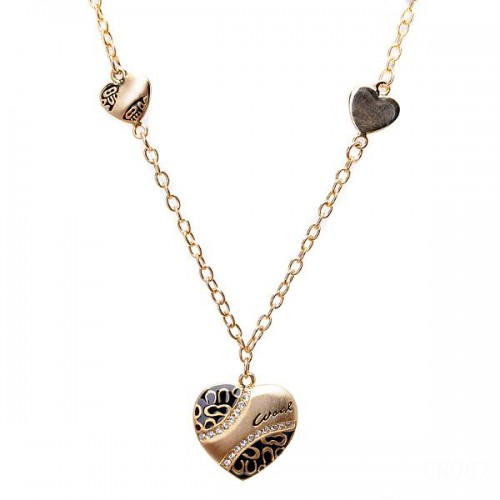 Coach Love Heart Black Necklaces CZU
