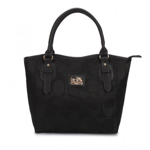 Coach Logo In Monogram Small Black Totes DCJ