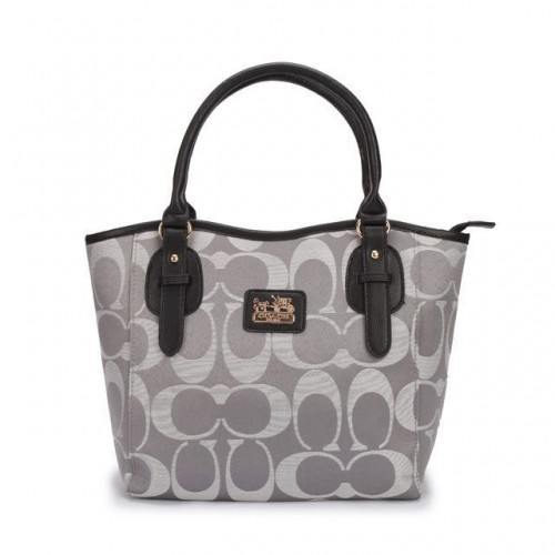 Coach Logo In Monogram Small Grey Totes DCK