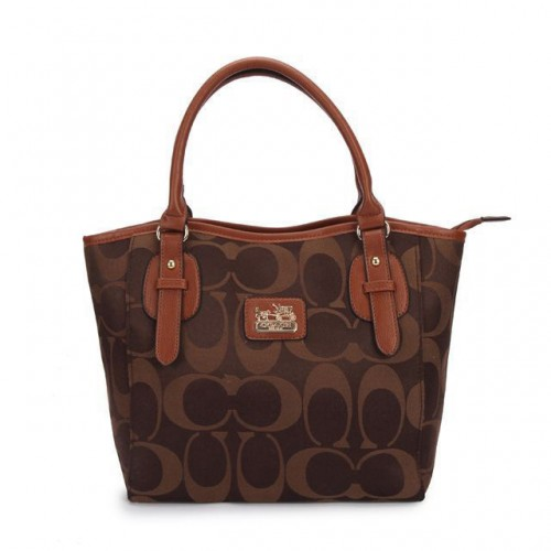 Coach Logo In Monogram Small Coffee Totes DCL
