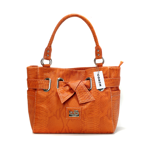 Coach Embossed Bowknot Signature Medium Orange Totes DDR