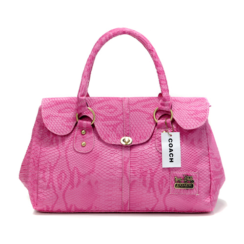 Coach Embossed Lock Medium Pink Satchels DED