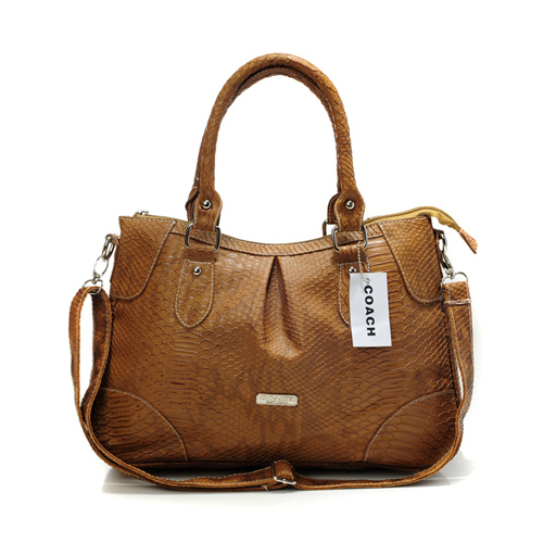 Coach Madison Embossed Medium Brown Satchels DEK