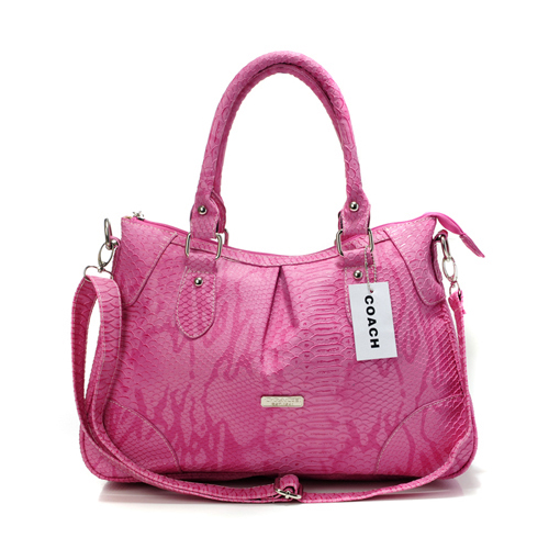 Coach Madison Embossed Medium Pink Satchels DEN